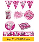 AGE 21/21st Birthday PINK SPARKLE Birthday Party Range - Tableware Banners Decs