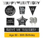 AGE 30 - 30th Birthday BLACK & SILVER GLITZ - Party Banners,Balloons&Decorations