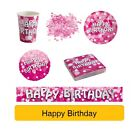 PINK SPARKLE Birthday Party Range AGE FOIL BALLOON/ Tableware Banners DecsAMSCAN