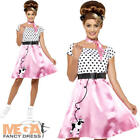 50s Rock n Roll Ladies Fancy Dress Retro Poodle Grease Womens Adults Costume New