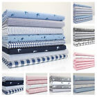 FQ / FAT QUARTER CHAMBRAY DENIM  BUNDLES COTTON FABRIC - STARS SWALLOWS STRIPE .