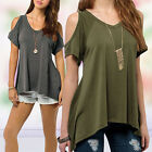 Women Fashion Casual Off Shoulder Short Sleeve V-neck Sweep Top Shirt Hot Trendy