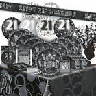 AGE 21 - Happy 21st Birthday BLACK & SILVER GLITZ -Party Range, Banners & Napkin