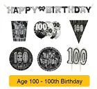 AGE 100 - Happy 100th Birthday BLACK & SILVER GLITZ - Party Range, Banners
