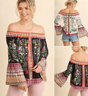 S M L Umgee Floral Print Off Shoulder Bell Sleeve Gypsy Peasant Top Black Boho