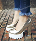 2017 Women's Pumps Platform Chunky High Heel Pull On Party Clubwear Shoes Size
