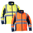 Soft Shell Hi Viz Safety Pro EN471 Work Bomber Jacket Mens Waterproof Windproof
