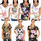 Reversible Cage Strap Floral Print T-Shirt Summer Top Size  Womens