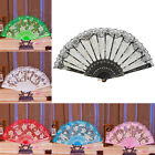Lace Fabric Embroidered Fan Folding Hand Dancing Fan Rose Flower Wedding Decor