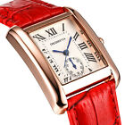 Classic Rectangle Roman Dial Analog Quartz Leather Band Strap Women Wrist Watch
