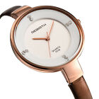Luxury Women Slim PU Leather Strap Golden Round Dial Quartz Ladies Dress Watch