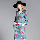 Fashion New Women's Slim V-collar H-Style Single Breasted Belt Embroidery