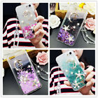 Dynamic Moon Stars Liquid Quicksand Bling Diamond Case with Crystal Strap Cover