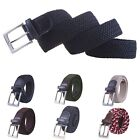 Mens Elastic Braided Web Belt Woven w/ Leather Accents and Silver Square Buckle