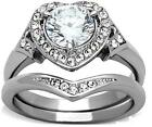 Clearance SALE 2 Piece Stainless Steel Cz Heart Halo Wedding Engagement Ring Set