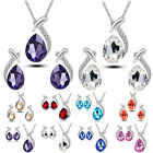 Chic Women Crystal Pendant Chain Necklace Stud Wedding Party Earring Jewelry Set