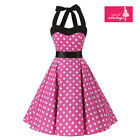 Women's Pink White Polka Dot Dress Vintage Halter 50s Rockabilly Swing Dress