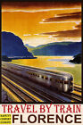 FLORENCE TRAVEL BY TRAIN SAFETY COMFORT ECONOMY TOURISM VINTAGE POSTER REPRO