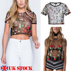 Womens Floral Mesh Sheer Embroidered Floral See-through Crop Tops T Shirt Blouse