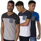 Rawcraft Mens V Neck T Shirt Contrast Colour Panel Short Sleeve Cotton Tee Top