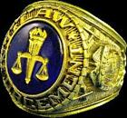18K GOLD (GP) LAW ENFORCEMENT POLICE SIGNET RING INSIGNIA ETCHED IN 18K GOLD