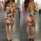 Women Ladies Backless Bodycon Off Shoulder Evening Prom Party Slim Mini Dresses