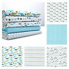 TIDDLERS & WHOPPERS FISH - 100% COTTON FABRIC FQ metre Bundle seaside blue