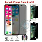 PRIVACY + FULL Glass Screen Protector Anti-Spy iPhone XS Max X 6S 6 7 8 Plus XR