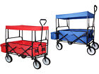 Collapsible Folding Wagon Cart w/Canopy Outdoor Utility Garden Beach Toy Sports