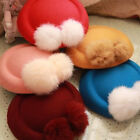 Fashion Women Girls Plush Ball Head Side Cap Hat Hair Clips Headdress Headwear