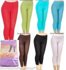 8 Colors Red Green Aqua Purple Lace Hem Capri Length Stretch Footless Tights OS