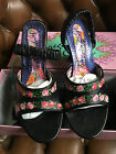 Irregular Choice Shoes Size 6.5 Black wedge with Roses in box with spare heels.