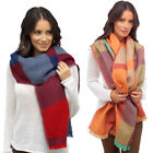 Ladies Check Large Blanket Scarf Wrap Shawl Soft Coloured Throw  Womens