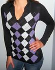 New STRETCHY Purple Black ARGYLE Foil RHINESTONE ZIPPER Top CHOOSE S M L XL