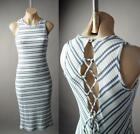 White Blue Thermal Knit Striped Lace Up Back Casual Midi Tank 227 mv Dress S M L