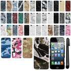 For Apple iPhone 5/ 5S/ SE Sprint Marble Design HARD Back Case Phone Cover + Pen