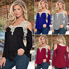 Long Sleeve Cold Shoulder T-Shirt Women Party Lace Top Casual Loose Blouse Shirt