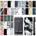 For HTC Desire 530 630 Marble Design HARD Back Case Phone Cover + Pen