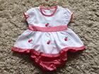 BABY GIRLS 2 PIECE PRETTY WHITE & RED GINGHAM LADYBIRD DRESS & PANTS 0-3 & 3-6