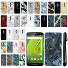 For Motorola Moto X Play XT1562/ XT1565 Marble Design HARD Back Case Cover + Pen