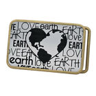 Buckle Rage Adult Unisex Love the Earth Day Heart Embossed Rounded Belt Buckle