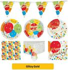 GLITZY GOLD  Party Tableware Disposable Birthday Supplies Event Decorations