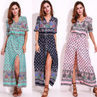 Plus Size UK 8-26 Womens V Neck Boho Floral Long Maxi Dress Summer Sun Dresses