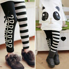 Kids Girls Classical Black White Fashion Slim Leggings Pants Size 3-8Y