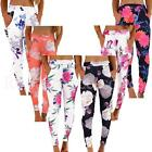 Ladies Floral Print Full Length Skinny Trousers Boho Legging Bottoms Size  Women