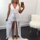 Women Chiffon V-Necked Playsuit Bodycon Party Jumpsuit Romper Trousers Clubwear