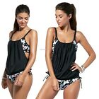 New Women Plus Strap Print Swimsuit Bikini Sets Swimwear Beach Vacation B20E