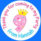 PERSONALISED GLOSS  9TH BIRTHDAY PARTY BAG, SWEET CONE STICKERS AGE 9