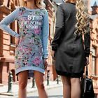 UK Womens Long Sleeve Floral/Letter Hem Casual Sport Tops Pullover Jumper Dress