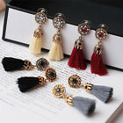Women Thread Long Tassel Earrings Rhinestone Drop Statement Fringe Earrings image